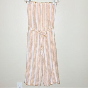 Cloth and Stone Orange Stripe Strapless Jumpsuit